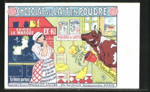 Lithographie Chocolat au Lait en Poudre, Kuh schaut durchs Fenster