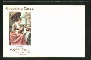 Lithographie Chocolat et Cacao Kohler, Lausanne, Tracht aus Thurgau / Thurgovie