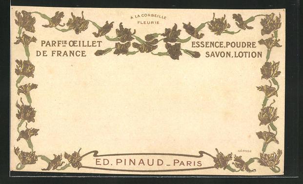 Präge-AK A la Corbeille Fleurie, Parfumerie Oeillet de France, Essence Poudre Savon, Lotion, Ed. Pinaud, Paris
