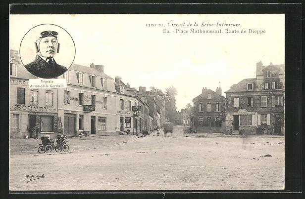 AK Eu, Circuit de la Seine-Inferieure, Place Mathomesnil, Route de Dieppe, Degrais Automobile Germain, Autorennen