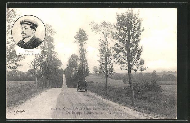 AK Circuit de la Seine-Inférieure, de Dieppe a Envermeu, la Route, Edmond Automobile Renault, Autorennen
