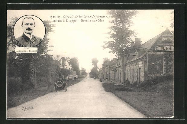 AK Biville-sur-Mer, Circuit de la Seine-Inférieure, de Eu a Dieppe, Szisz Automobile Renault, Autorennen