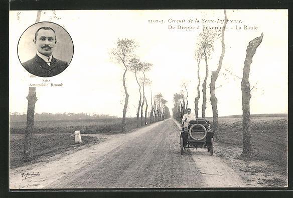 AK Circuit de la Seine-Inférieure, de Dieppe a Envermeu, la Route, Szisz Automobile Renault, Autorennen