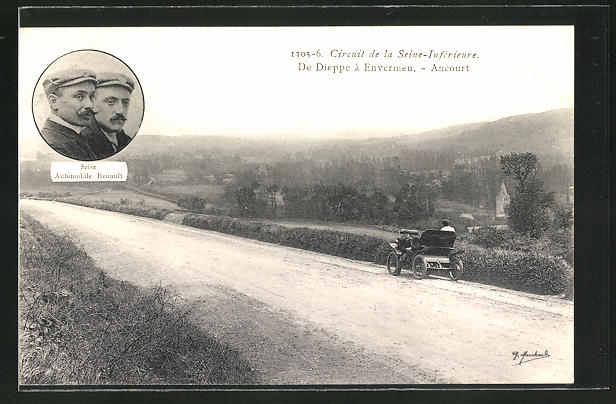 AK Ancourt, Circuit de la Seine-Inférieure, de Dieppe a Envermeu, Szisz Automobile Renault, Autorennen
