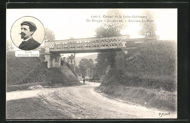AK Ancourt, Circuit de la Seine-Inférieure, de Dieppe a Envermeu, le Pont, Richez Automobile Renault, Autorennen