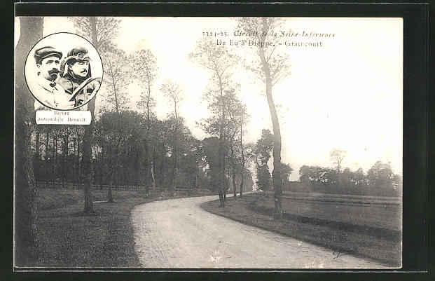 AK Graincourt, Circuit de la Seine-Inférieure, de Eu a Dieppe, Richez Automobile Renault, Autorennen