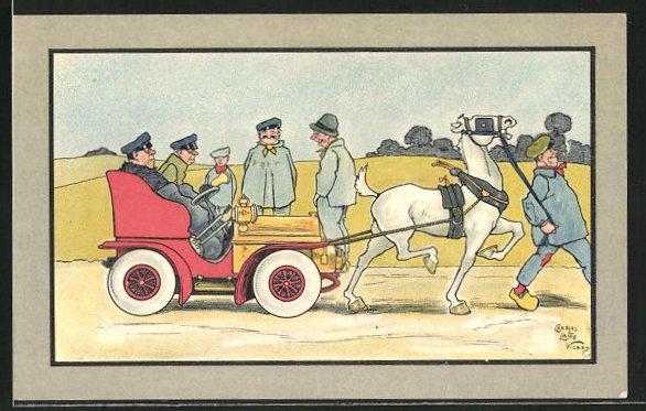Künstler-AK sign. Charles Lane Vicary: Auto wird von einem Pferd gezogen