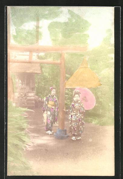 AK Geisha's mit Sonnenschirm im Garten