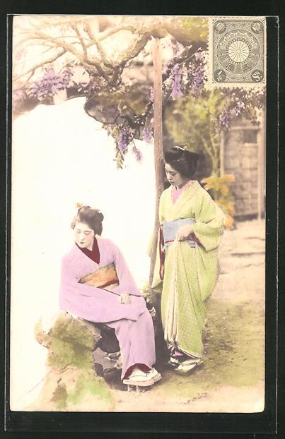 AK Geisha's im Garten