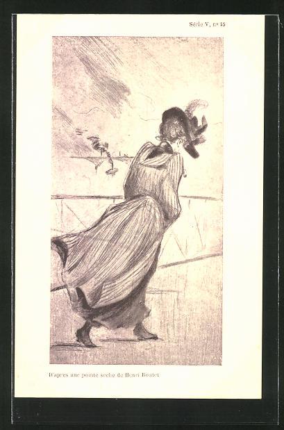 Künstler-AK Henri Boutet: Dame im Kleid mit Hut bei starkem Wind