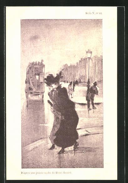 Künstler-AK Henri Boutet: Frauen im Kleid mit Hut