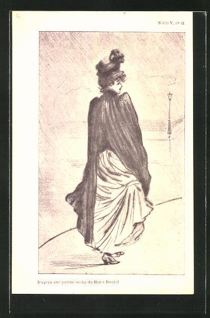 Künstler-AK Henri Boutet: junge Dame im Kleid mit Hut beim Spaziergang