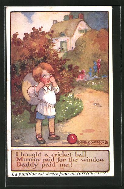 Künstler-AK Agnes Richardson: I bought a cricket ball