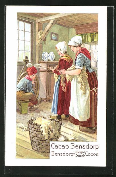 AK Reklame Cacao Bensdorp, Frauen am Spinnrad