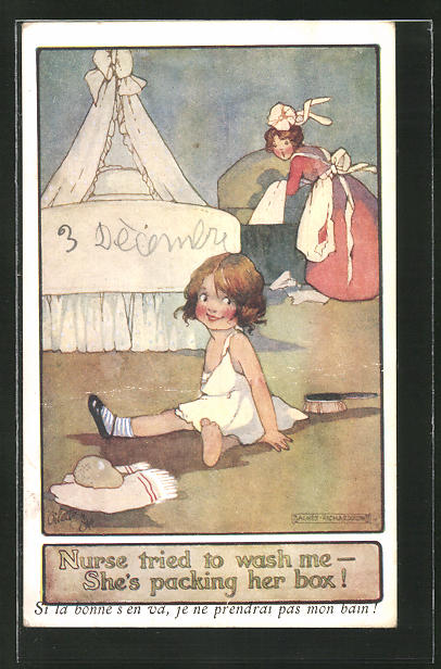 Künstler-AK Agnes Richardson: Nurse tried to wash me - She's packing her box!
