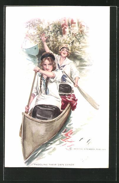 Künstler-AK Harrison Fisher: Paddling Their own Canoe