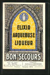 AK Reklame Elixir Arquebuse Liqueur Bon-Secours