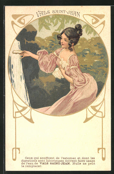 AK Seife Vals Saint Jean, junge Dame im Kleid, Jugendstil