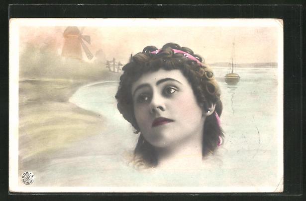 Foto-AK NPG Nr. 233 /4: Portrait einer Dame mit verträumtem Blick, Windmühle und Boot im Hintergrund
