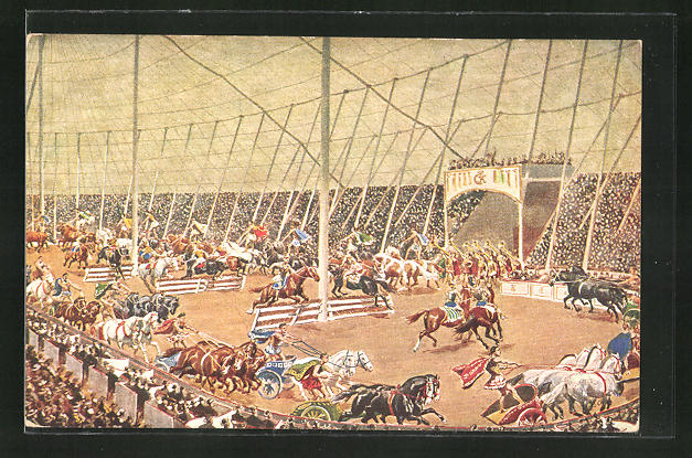 AK Riesen-Zirkus Krone, Circus Maxim II mit seinen altrömischen Arenaspielen und Wagenwettkämpfen