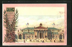 Lithographie München, II. Kraft- und Arbeitsmaschinen-Ausstellung 1898, Hauptportal, Ganzsache Bayern, PP15 C1 /04
