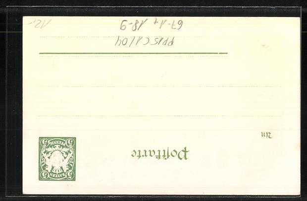 Lithographie München, II. Kraft- und Arbeitsmaschinen-Ausstellung 1898, Hauptportal, Ganzsache Bayern, PP15 C1 /04 1