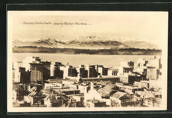 AK Seattle, WA, Business Section showing Olympic Mountains