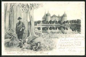AK König Albert von Sachsen als Jäger mit erlegtem Hirsch, Schloss Moritzburg