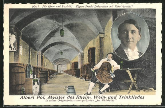 AK Musiker Albert Pol, Meister des Rhein-, Wein- und Trinkliedes, Szene aus