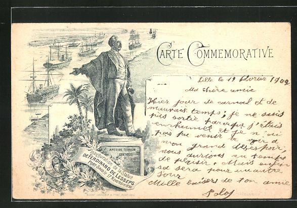 Lithographie Port Said, Inauguration de la Statue de Ferdinand de Lesseps, 17 Novembre 1899