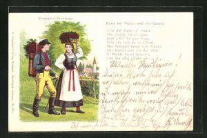 Lithographie Paar in Schwarzwälder Tracht (Remstahl-Tracht)