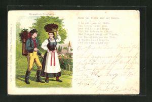 Lithographie Paar in Schwarzwälder Tracht (Remsthal-Tracht)