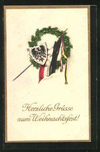 AK Kriegsweihnachten, Kranz mit Reichskriegsflagge und Wappen