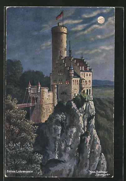 Künstler-AK Hans Boettcher: Schloss Lichtenstein im Mondschein