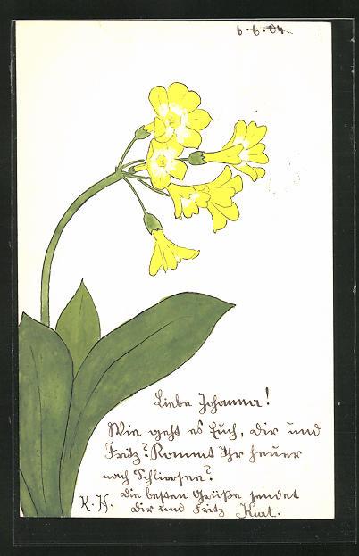 Künstler-AK Handgemalt: Blume mit gelben Blüten