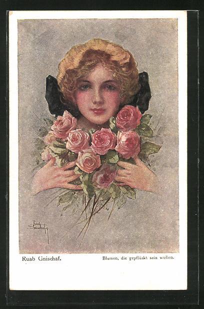 Künstler-AK Ruab Gnischaf: Mädchen mit rosa Rosen in der Hand