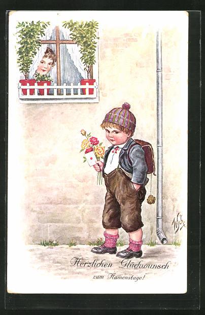Künstler-AK Willi Scheuermann: Junge mit Tornister, Blumen und Brief,