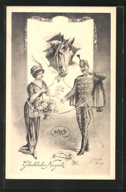 Künstler-AK Kränzle: Kavallerist und Blumenmädchen im Zaumzeug eines Pferdes vereint