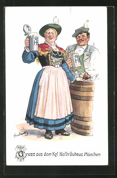 Künstler-AK Fritz Quidenus: München, Paar mit Bier grüsst aus dem Kgl. Hofbräuhaus
