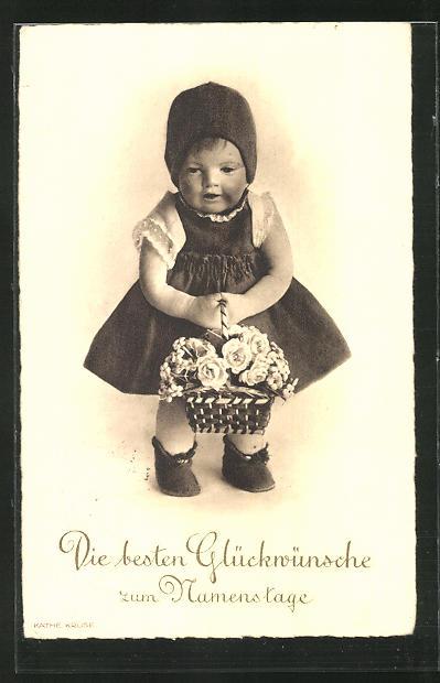 AK Käthe Kruse-Puppe mit Glückwünschen zum Geburtstag