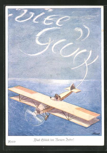 Künstler-AK sign. Schaupp: Flugzeug schreibt
