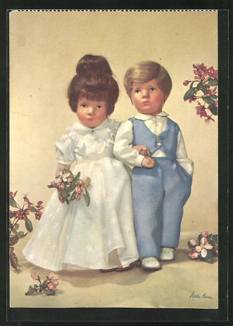 AK Käthe Kruse-Puppen Liebespaar bei einem Date