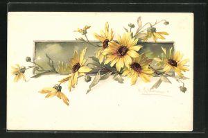 Künstler-AK Catharina Klein: blühende gelbe Blumen mit Knospen