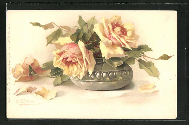 Künstler-AK Catharina Klein: Rosen hängen in einer Vase und verlieren Blütenblätter