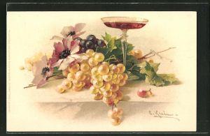 Künstler-AK Catharina Klein: Weintrauben mit Mohnblumen und Sektglas