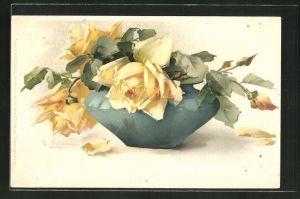 Künstler-AK Catharina Klein: gelbe Blumen hängen in einer Vase