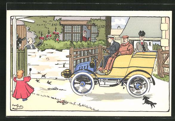 Künstler-AK sign. Eliott: Männer und Frau fahren in einem Auto in die Stadt