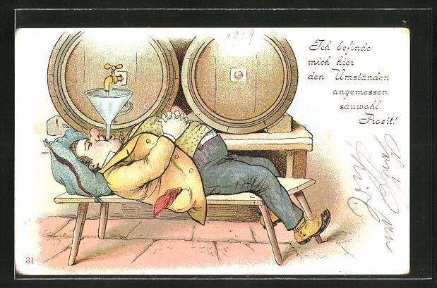 AK dicker Mann liegt unter einem Bierfass und säuft, Trinkerhumor