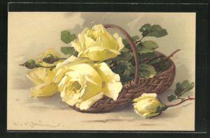 Künstler-AK Catharina Klein: gelbe Blumen liegen in einem Korb