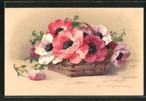 Künstler-AK Catharina Klein: bunte Mohnblumen liegen in einem Korb